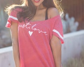Just Love.  Flutter Sport Striped Tee.  Red and White Wide Shouldered Tee.  Made in the USA.
