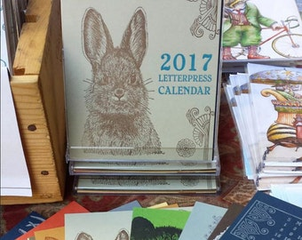 SALE! 2017 Letterpress Printed CD Case Calendar 12 Lovely Months of Woodland, Arctic and Farmyard Animals