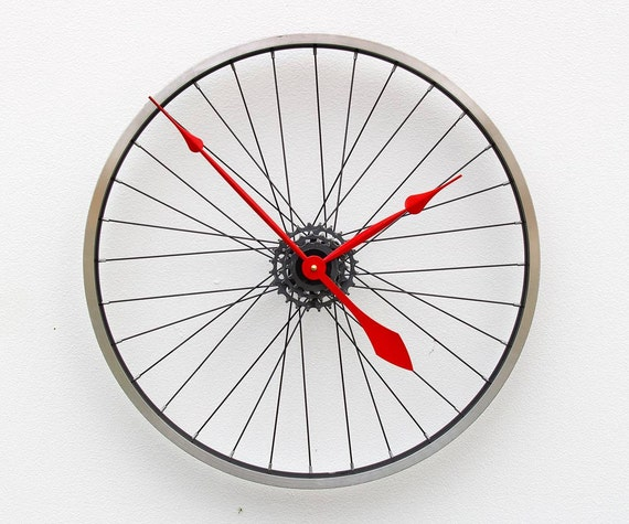 Bike Design Wall Clock : Bike wheel clock bicycle wall large