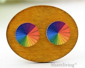 Buy 1 Get 1 Free - Rainblow Wooden Cabochon Button, 12mm 15mm 20mm  Round Handmade Photo Wood Cut Cabochon -- HWC048Y