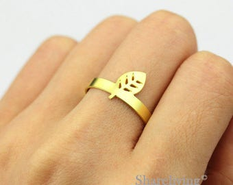 2pcs Raw Brass Leaf Ring, Simple Ring, Adjustable Life Brass Rings - TR052