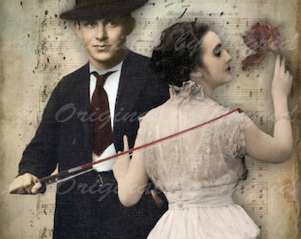 The Violin Digital Collage Greeting Card (Suitable for Framing)