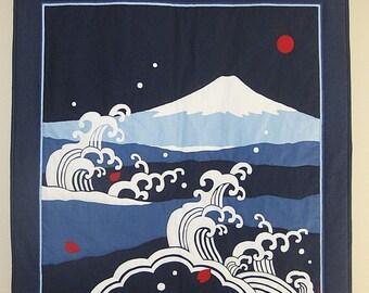 Japanese Mount Fuji and Waves Large Furoshiki Wall Hanging Quilt