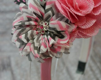 Flower Headband (pink, black and gray)