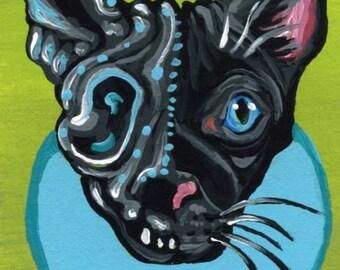 ACEO ATC Original Gouache Painting Sugar Skull Black Cat Day of the Dead Art-Carla Smale