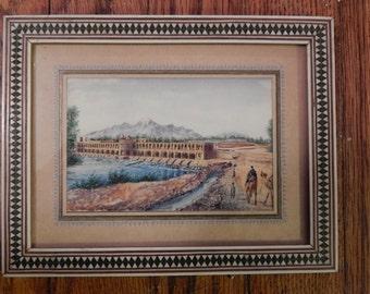 Vintage . Ali Sajjadi . Listed Artist. Miniature painting . Inlaid Frame