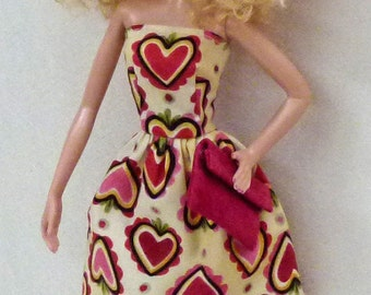 "11.5"" fashion doll Handmade dress with cranberry pink suede purse by Grizzly Creek"