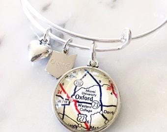 Miami University Map Charm Bangle Bracelet - Personalized Map Jewelry - Bangle - Oxford - Ohio - Midwest - Graduation - Alumni - Student