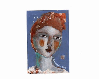 FREE shipping Everywhere mixed media 4 x 6 original art small gift painting abstract color poem girl  imagination fun  paper  free shipping
