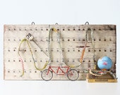Vintage Industrial Hook Rack, Numbered Hooks