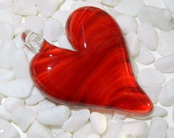 Lampwork Boro Glass Pendant - Focal Bead - HEART bright red