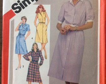 Vintage Sewing Pattern Simplicity 5894  Misses' Shirtwaist Dress  Size 16-20 Bust 38-42 inches  Uncut Complete