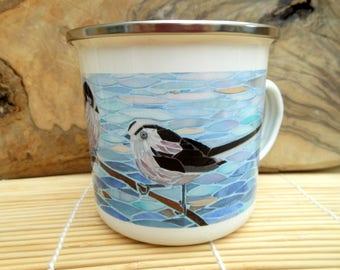 Long-Tailed Tits Enamel Mug - Bird Camping Mug - Bird Mug - Songbird Mug - Camping Gift Gardening Mug Gift for Gardener Gift for Bird Lover