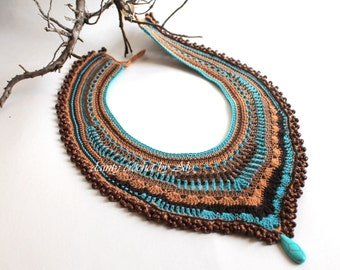 Bohemian Brown turquoise statement necklace