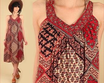 ViNtAgE Indian Dress Gauze Cotton // 70's Bohemian Mini Sun SunDress // India Festival Dress // Hippie BoHo Gypsy M