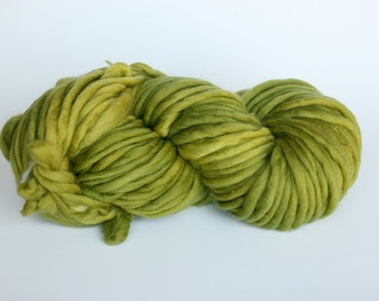 SMALL CHARTREUSE, mondo super skein, bulky, merino, hand dyed yarn, single ply, roving style