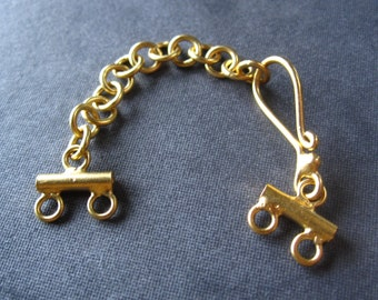 Vermeil hook and eye clasp - extender clasp - double strand gold plate over sterling silver