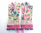 Designer Garden Gloves. Colorful Flowers, Glitter and Neon Pom Poms. Fancy Work Gloves for Women. Mother's Day Gift. Gardener's Present.