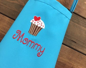 Vanilla Cupcake- Personalized Teen & Women's Apron-Embroidered- Mother's Day gift--2 sizes available