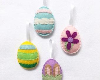 Easter Egg Ornament Set of 4 - Felt Hand Stitched Decor