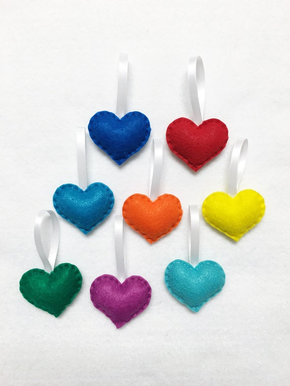 Heart Ornament, Felt Ornament Set - Rainbow Love - 8 Hearts