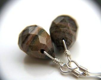 Natural Gemstone Earrings . Silvermist Jasper Earrings . Simple Drop Earrings . Natural Stone Earrings . Earthy Jewelry - Sands Collection