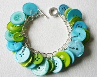 Button Bracelet Zesty Lime Green and Aqua Blue