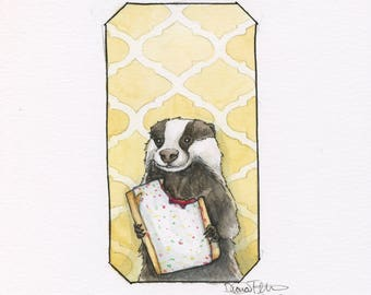 4 x 6 Print - A Badger and His Poptart