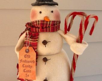 Primitive Snowman candy cane Christmas decoration