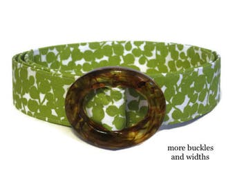 Women's D-ring Belt, Green Floral Belt, Flowered Belt, Ladies Fabric Belt Wide or Narrow, Light Green Foliage Belt in XS to Plus Size