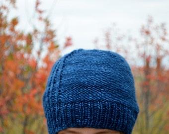 Frank - Blue Reversible Hand Knit Beanie in Soft Merino Wool - Fall Fashion, Men, Women, Unisex, Textured Traditional Knit Hat