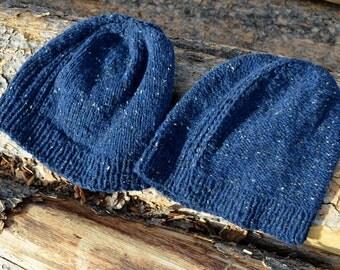 Frank Watchcap - Hand Knit Hat in Wool, Silk, Cashmere Blend Tweed Yarn. Midnight Blue Tweed, Reversible Design. Textured Knit Luxury Hat
