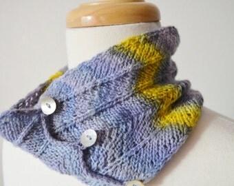 PODA headband/cowl/bun hat - handdyed, -spun, and -knit in extra fine merino wool; soft & thin handknit fabric; many ways to wear, purple