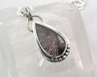 Super Seven Pendant, Teardrop, Super Seven Stone, Sterling Silver, Melody Stone, Natural Jewelry, Amethyst, Cacoxenite, Super Seven