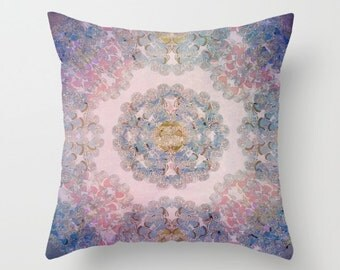decorative pillow cover- home decor- purple-blue-pink- mandala design- modern bohemian home- bedroom decor