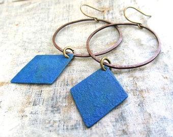 Hipster earrings blue earrings boho chic earrings Geometric earrings dangle drop earrings bohemian jewelry blue patina hoop earrings