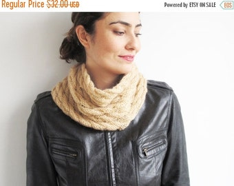 50% CLEARENCE Beige Silvery Mohair Cable Knit Cowl Scarf by Afra