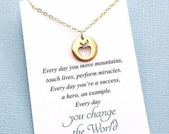 SALE - Mentor Teacher Gift | Apple Necklace, Teacher Gifts, Mentor Gift, Mentor, Mentor Appreciation, Mentor Teacher Gift, Silver or Gold |