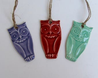 Set of three ceramic ornament /gift tags, Owl