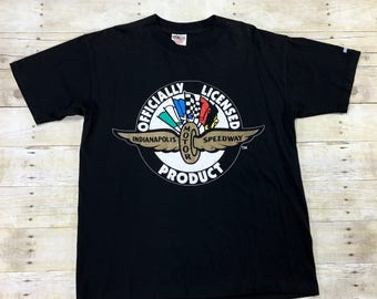 Vintage 1990s 90s Indianapolis Motor Speedway SEGA T-Shirt Made in USA Mens Streetwear Size Large