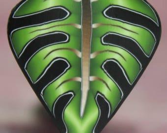 Green Polymer Clay Philodendron Leaf Cane -'Jungle Journey' series (6E)