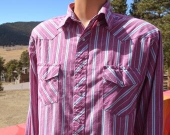 vintage 80s western shirt WRANGLER maroon red pink stripe pearl snaps Large cowboy