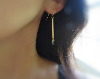 14k gold fill bar dangle earrings with london blue topaz briolette, gold bar earrings, long gold bar earrings, london blue topaz earrings
