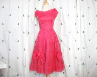 Vintage Hot Pink Formal Dress, Kerrybrooke, Sears, Midi Length Pleated Full Skirt With Bows, Small