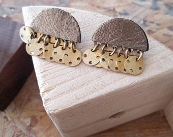 Modern Ethnic Earrings, Post Earrings, Brass Jewelry, Gold Leather and Brass Earrings, Contemporary Jewelry, Original Jewelry