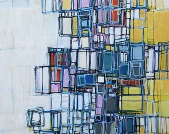 Large abstract painting Artwork painting contemporary modern painting yellow blue