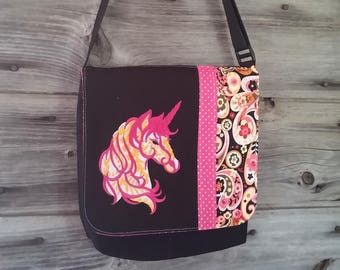 Unicorn Bag flap for MEDIUM messenger bag, changeable flap collection**FLAP ONLY**