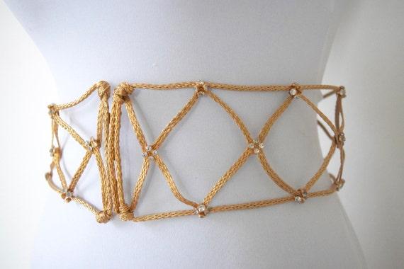 SUMMER SALE / 20% off Vintage 60s Gold Metal Rope Belt with Rhinestones