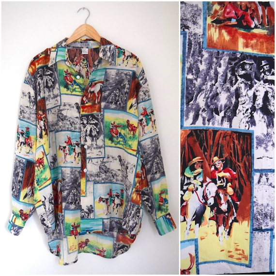 Vintage 80s 90s Frontier Land Novelty Print Long Sleeved Button Down Silk Shirt (size large, xl)