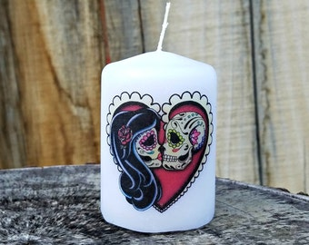 In Love Day of the Dead Sugar Skull Couple 2x3 Pillar Candle